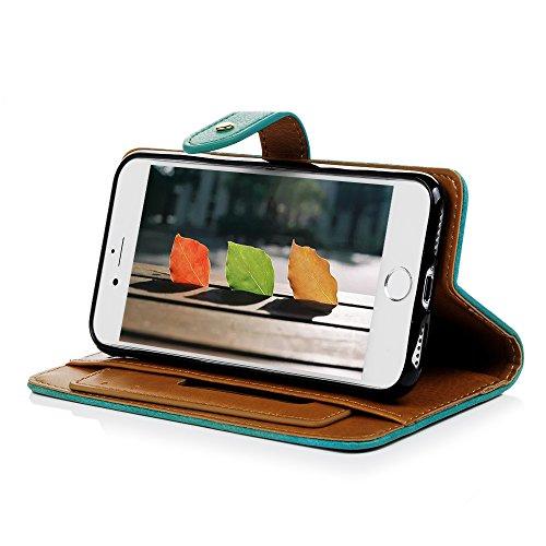 Coque iPhone 7 Mavis's Diary Étui Housse de Protection Cuir avec TPU Silicone Gel Souple Flip Phone Case Cover Bookstyle Étui à Rabat Fente de Carte Protection écran Swag Fermeture Magnétique pour iPh Vert