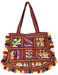Women's Embordierd Multi Coloured Shoulder Bag/Traditional Bag/Jhola/Jaipuri Rajsthani Bag - B07D7GJ5BW
