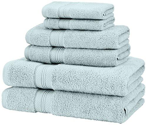 Pinzon Lot de 2 serviettes essuie-mains en coton Pima Bleu spa