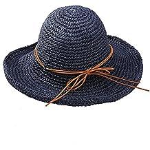 Tinksky Amplia los casquillos del visera plegable sombrero de paja playa sol verano, regalos para las madres o regalo para las mujeres adultas jóvenes (azul marino)