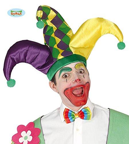 (Guirca Harlekin Kappe Clown Erwachsene Bunt Lustig Mütze Hut Scherz Karneval Motto Party Zubehör)