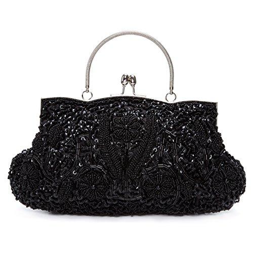 BAIGIO Damen Clutch Handtasche Paillette Abendtasche mit Handgriff Umhängetasche Glänzend für Hochzeit Party (Schwarz) - Vintage Perlen Handtasche