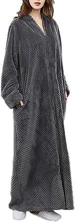 Unisex Dressing Gown Lounge Robe Blouse Zipper up Bathrobe Full Length Fleece Coats Sleepwear