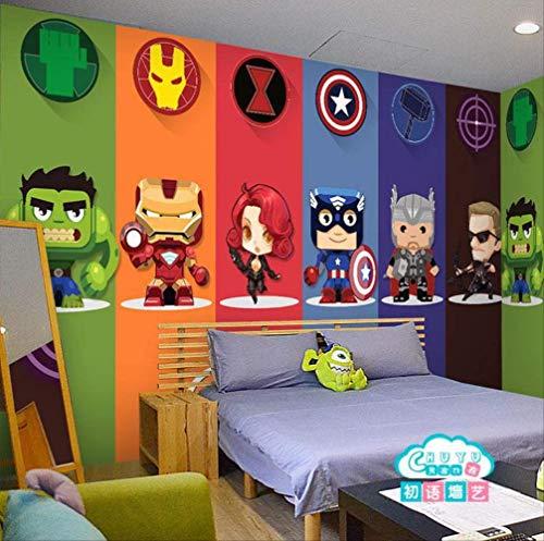 3D Captain America Avengers Boys Bedroom Photo Wallpapers Marvel Comics  Kids Room Interior Design Room Decoration