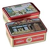 Metall Dose Zum Fest (300g, Maße 20 x 13 x ca. 11cm) Original Lambertz Geschäftsansicht, befüllt mit feinen Printen, Lebkuchen, Zimtsternen und vielen weiteren Lambertz-Spezialitäten