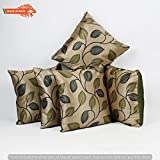 GOLDENIZE™ GREEN SET OF 5 TROW CUSHION PILLOW COVER DECROATIVE POLYSTER SILK SQUARE CUSHION COVER OUTDOOR COUCH SOFA HOME PILLOW COVER 16X16 INCH (40CMX40CM) MADE IN INDIA.PRODUCT ID:XXZ02
