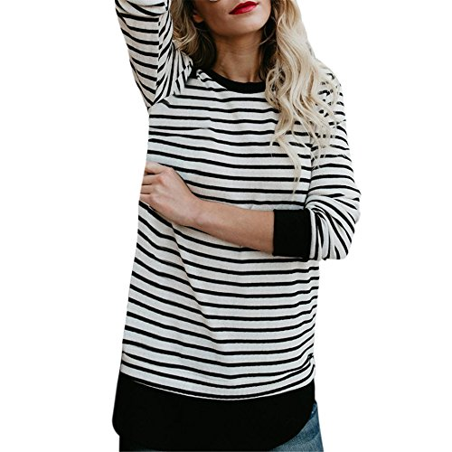 Frauen Streifen Langarm-T-Shirt BURFLY Pullover Casual Patchwork O-Neck Bluse Tops Tunika Tops für Frauen (XL, Schwarz) (Damen Top Sleeve Thermal Long)