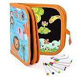 Upgrow Skizzenbuch Wiederbeschreibbar Kinder Graffiti-Buch Zeichenbuch, Tragbar Zeichenbrett, Kinder Malerei Spielzeug, Löschbar Malbuch mit 14 Farbstiften (Tierchen)