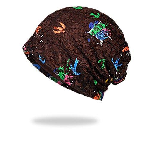 WELROG Chemo Hut Frau Frauen Hut Spitzen Kopftuch Super Weich Slouchy Turban Kopfbedeckungen Kopf Wraps (Kaffee #2) (Reiches Kaffee)
