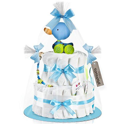 Timfanie® Windeltorte   Ziehente (2-stöckig / baby-blau)