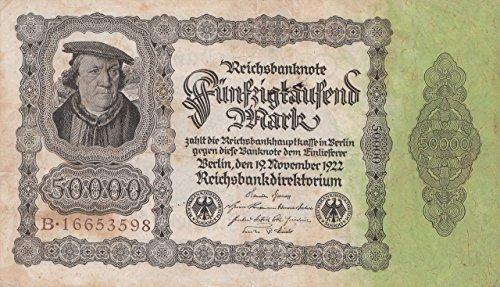 Generic Deutsches Reich Rosenbg: 79a, Gebraucht (III) Reichsdruckerei Braune Kontrollnummer 1922 50.000 Mark (Banknoten für Sammler)