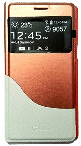 DMG Leather Stitch Flip Cover S View Case for Samsung Galaxy Grand 2 G7102 (Gold)  available at amazon for Rs.399