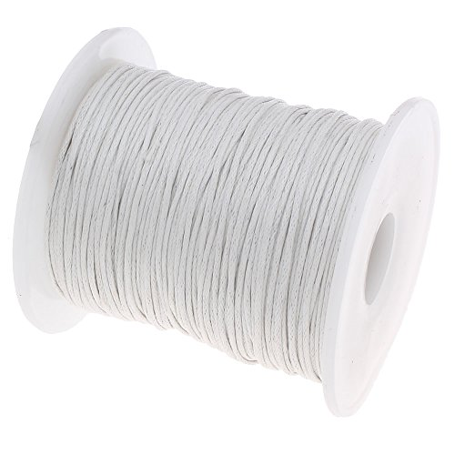 Perlin - 75 m Gewachste Baumwollekordel Weiß 1mm Gewachst Schmuck Schnüre Wachs Fäden ideal zur Schmuckherstellung C163 (Wachs, Faden Schwarz)