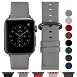 Fullmosa Ersatzband für Apple Watch Armband 42mm und 38mm, Echtes Leder Uhrenarmband für Iwatch Watch Series 3,2,1, Nike+ Hermes&Edition,38mm Grau+graue Schnalle