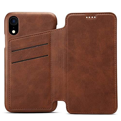 Preisvergleich Produktbild Apple iPhone 8 Leder Handy Hülle Flip Case Handytasche Cover Schale mit Kredit Karten Fach Geldbörse Geldklammer Leder Handy Schutzhülle, Braun