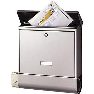 BURG-WÄCHTER Briefkasten mit Zeitungsbox und Namensschild, A4 Einwurf-Format, EU Norm EN 13724, Inkl. 2 Schlüsseln, Rostfreier Edelstahl, Seculine 2500 Ni, Briefkasten mit Namensschild