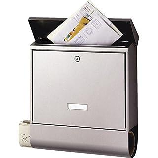 BURG-WÄCHTER Briefkasten mit Zeitungsbox und Namensschild, A4 Einwurf-Format, EU Norm EN 13724, Inkl. 2 Schlüssel, Rostfreier Edelstahl, Seculine 2500 Ni