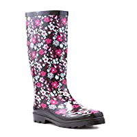 Wellygogs - Womens Black Floral Wellington Boot