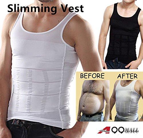 Herren BODY Slimming Bauch Shaper Bauch Unterwäsche Shapewear Taille Girdle Shirt Weste, schwarz, xxl