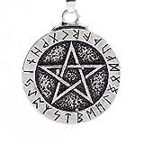 Halskette für Herren,PAOLIAN Anhänger Halskette Rune Pentagramm Lange Halskette Pullover Kette Schmuck (Silber)