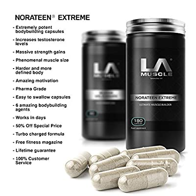 LA Muscle Norateen Extreme Natural Testosterone Booster Pills 180 Capsules. Pharma Grade, Ideal for anyone looking for bigger and harder muscles, Extremely potent capsules, Increases testosterone levels Naturally, Phenomenal muscle size, Super-Fast streng