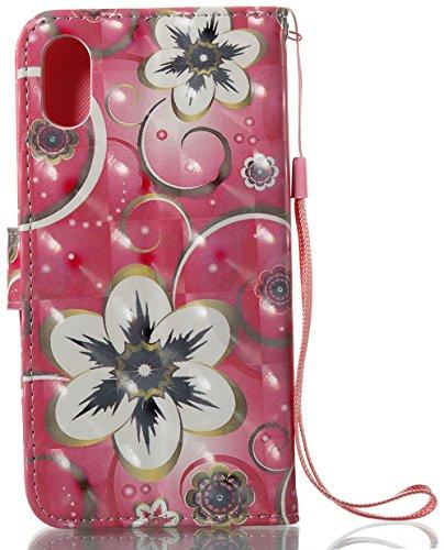 Coque Iphone X Edition, Iphone X Case, Iphone X Coque, Iphone X Protection, Coque Iphone 10 euros, Nnopbeclik® à Rabat Fonction Wallet/Portefeuille en Bonne Qualité PU Cuir Housse (5.8 Pouces) Peint 3 fleur2
