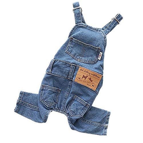 Klassische Denim-overalls (Hundeklassische Strickjacke Hundebekleidung Hund Jeans Strap Cool Blue Denim Jacke Small Medium Dog Klassisches passendes Hemd Puppy Blue Retro Washed Overall Welpenhaustierjacke, Welpenkostüm, weiche)