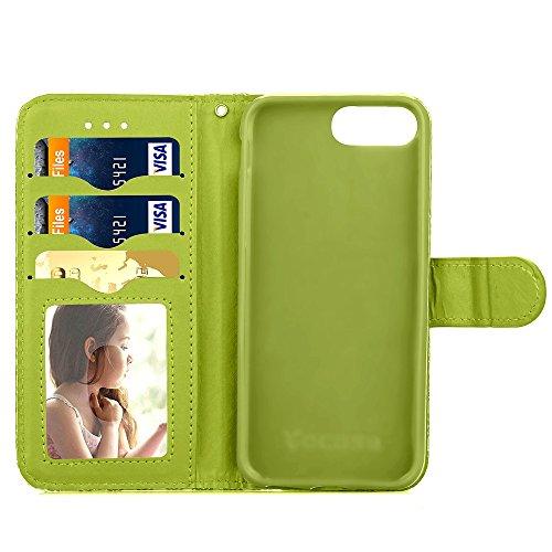 iPhone Case Cover Qualität PU-Leder-Kasten, Chrysantheme-Blumen-Muster-Mappen-Standplatz-Fall Foto-Fenster-Kasten für iPhone 7 plus ( Color : Green , Size : IPhone 7 Plus ) Green