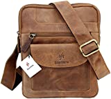 Starhide Mens Womens Distressed Hunter Brown Leather Cross Body / Shoulder / Travel Messenger bag for Kindle Ipad Tablet #505