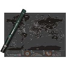 Mapamundi Para Rascar | Scratch Map De Capitales | Mapa Del Mundo Para Marcar Tus Viajes | Ten En La Pared Un Recuerdo De Todas Tus Vivencias Y Visualiza Tu Próximo Destino | De Vivaloo