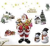 Anself 50 * 70cm Weihnachtsmann Wandtattoo Wandaufkleber Wandsticker Fensterdeko Fenster Dekoration Fensterbild