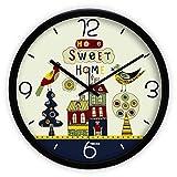 MJY Wanduhr Industrie, Wohnzimmer Wandkarten Stumm Uhr Cartoon Modus Kind Haus Moderne und einfache Uhr Quarz Wanduhr,14 Zoll schwarzer Rand