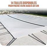 Linxor France ® Bâche d'hivernage PVC beige 580g/m² pour piscine enterrée + accessoires - 14 tailles disponibles - Norme CE