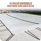 Linxor France ® Bâche d'hivernage PVC beige 580g/m² pour piscine enterrée + accessoires - 14 tailles disponibles - Norme CE...