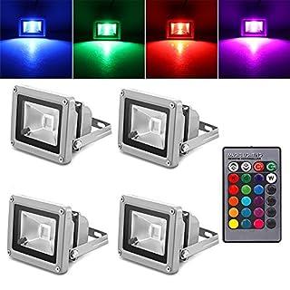 10 Watt RGB LED Flutlicht, ABEDOE Scheinwerfer Lampe Unterstützung Fernbedienung IP65 Wasserdicht für Outdoor Gartenweg Landschaft AC 85-245 V (Pack of 4X, 10W)