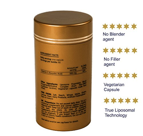 LIPOSOMAL VITAMIN C 500mg – High Dose Vitamin C I Encapsulated for Maximum Bioavailability I 100% Non-GMO and Vegan Friendly I Slow Release I Vitamins and Supplements – 60 Vegetarian Capsules