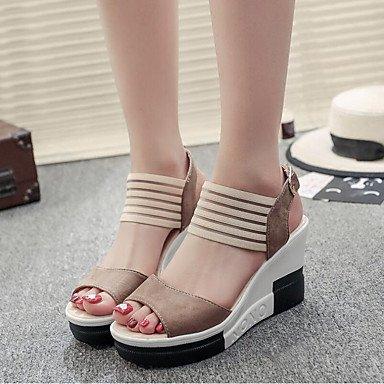 RUGAI-UE Sommer Mode Frauen Sandalen Schuhe Casual PU Komfort Heels Outdoor Wandern, Mandel, Us5.5/EU36/UK3.5/CN 35 Khaki