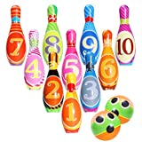iBaseToy Kinder Bowling Set Kegelspiel Spiele Boule-Spiele Bowlingkugel Kegel für draußen Spielzeug Kinder ab 3 4 5 Jahren (2 Bälle und 10 Kegel)