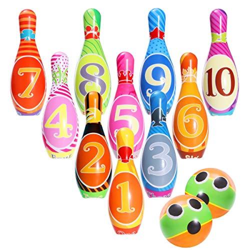 ing Set Kegelspiel Spiele Boule-Spiele Bowlingkugel Kegel für draußen Spielzeug Kinder ab 3 4 5 Jahren (2 Bälle und 10 Kegel) ()