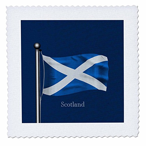 3drose Waving Flag of Scotland auf einer Fahnenstange mit dunkelblauem Hintergrund, Quilt, Platz, 12von 12Zoll (QS _ 165743_ 4)