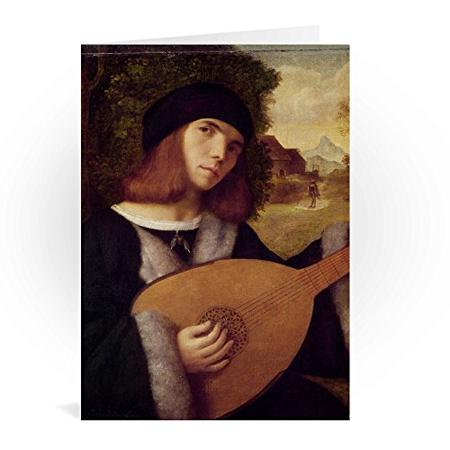 The Lute Player (oil on canvas) by Giovanni.. - Grußkarten (2er Packung) - 17,8x12,7 cm -...