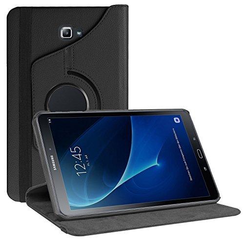 HZSSEC 360° Rotation Housse étui Coque pour Samsung Galaxy Tab A 10.1 SM-T580N / SM-T585N (A6) (2016 Version), 360 degrés Rotation Coque en Cuir pour Samsung Tablette Housse de protection Etui avec la fonction de stand Case Cover - Noir