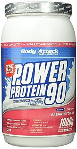 Body Attack, Power Protein 90, Raspberry Cream, 1er Pack (1x 1000g)