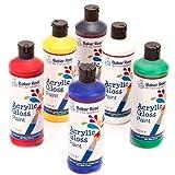 Peinture acrylique (paquet A - rouge, jaune, bleu royal, vert, blanc et noir) 175 ml de 6 couleurs assorties...