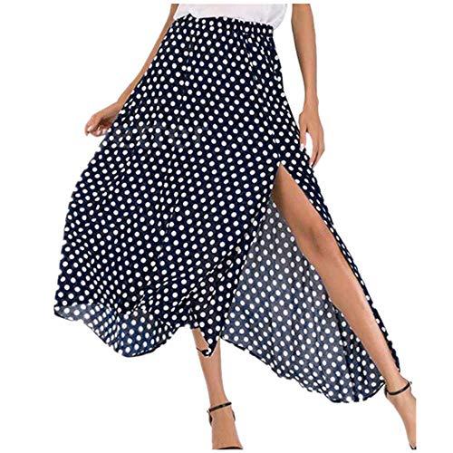 Weant Röcke Damen Knielang Sommer Elegant Wellenpunkt Drucken Split A-Linie Rock Junges Mädchen Faltenrock Festlich Hochzeit Abendkleider Ballett Tutu Röck Holiday Strand Petticoat Kleid