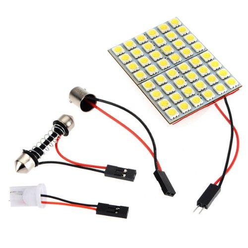 Preisvergleich Produktbild 2x 48 SMD 5050 Weiß LED Panel Innenraum Bleuchtung Lampe+T10 Sockel+BA9S Sockel+Soffitte Adapter