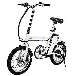 """cooshional 16"""" Vélo électrique Pliable VTT Blanc Femme/Homme Le Moteur sans Brosse ALU 24.9KM/H"""