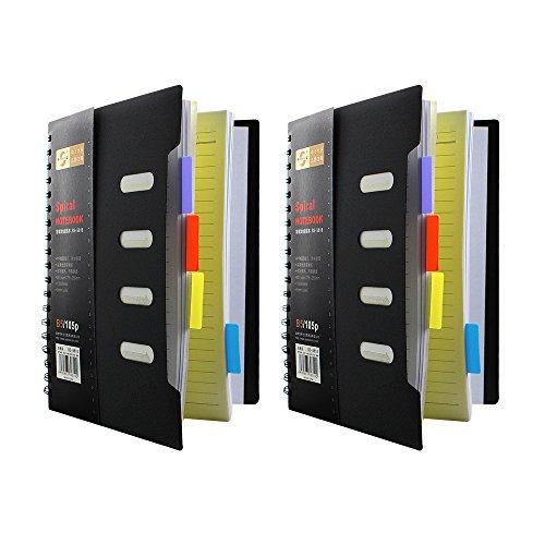 Preisvergleich Produktbild Super Spirale Projekt Notebook mit farbigen Index Papier Trennwand, A5Größe, ein Buch haben 105Blatt Papier, 2Stück
