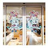 QTZJYLW DIY Kreative Willkommen Bunte Katze Muster Glasfolie Fenster Aufkleber Urlaub Decor Keine Kleber Abnehmbar (40 × 60 cm)