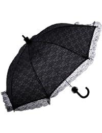 Topwedding ombrelle de mariage en dentelle avec plissage,noir